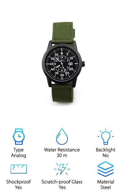 Like an old-fashioned, simplistic watch? The oDo Shmeichel Tactical Watch is a beautiful, Army-style watch with a military green colored band and a black face. It has easy to read white numbers on the face. The watchcase is made with super durable stainless steel while the cover is scratch-resistant mineral glass. It's water resistant up to 30 meters, making it perfect for swimming, showering, bathing, fishing, and other shallow water activities. And it even comes with a beautiful, tin gift box that makes the oDo Shmeichel Tactical Watch truly special. ALthough this watch isn't backlit, it does glow in the dark so reading the time even in the dark is easy. So if you are looking for a simple, beautiful, military-style watch, oDo Shmeichel Tactical Watch is just a fabulous watch to choose!