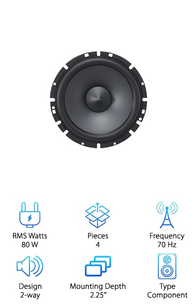 "One of the best ways to really take your car's sound system to the next level is with a component speaker set. These Alpine component speakers are some of the best 6.5"" component speakers for bass. They're part of the Type-S Series with 80W RMS power capacity and 240W peak power capacity. A large diameter 30mm voice coil with a high-grade magnet and Progressive Aramid fiber spider are just some of the woofers' features that help you get bone-shaking bass without distortion. The woofers have a 2.25'' mounting depth and the tweeters mount at .75''. The stable, reinforced voice coil plus a poly/mica cone and resonance-free HD polymer frame provide durability and resilience. Upgrading a vehicle's factory speakers for clearer, more intense audio doesn't have to cost an arm and a leg! Alpine is a popular choice for audio and has some of the best 6 1/2"" speakers for the money!"