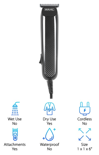 Much like the rest of the Wahl product range, the Wahl Power Pro Corded trimmer is made in the USA. We love that! It's a sturdy, heavy-duty, and dependable American product, designed with utility in mind. As you may have guessed from the name, it's a corded model, so you don't have to worry about charging it. Still, with a proper adapter (doesn't come with the purchase) you can take it abroad to show off your good looks worldwide. The trimmer features heavy-duty stainless steel blades, with 17 built-in trimming lengths. It also comes with full trimmer, detail trimmer, three beard guide combs (stubble, medium, and full), 8 clipper guide combs, as well as some other perks (cleaning brush, blade oil, storage case and a bilingual instruction manual). That's plenty. It's a great deal for the money.