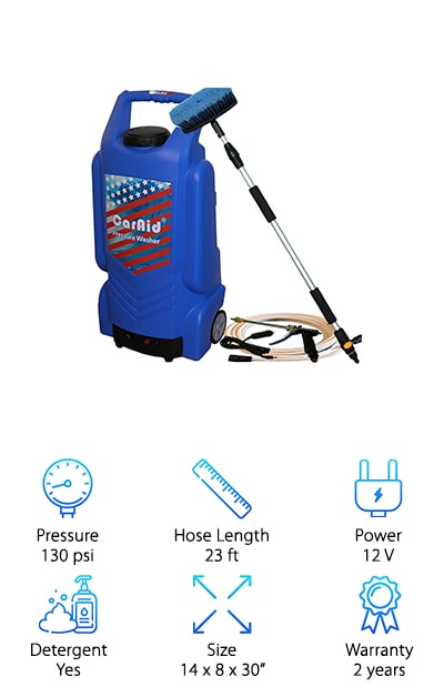 Next up is the Caraid 9906 Pressure Washer, a lightweight and portable option specifically designed for washing cars. We really like the large water tank. It holds 9.25 gallons of water so you won't have to worry about refilling too often. This is a really great choice if you want something that's truly portable. Why do we say that? The water tank means that no hose it needed. Plus, the battery eliminates the need to be close to an outlet. You really can wash your car whenever and wherever you want to. And get this/ Because it was specifically made to wash cars, you can use it frequently without having to worry about damaging your paint job. One more thing we have to mention: the telescopic handle is great.