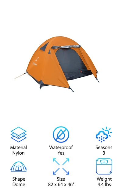 "By now, you have a good idea of the best tent brands for three-person tents, but our list is not complete without the Winterial. This brand easily holds three people, boasting spacious dimensions and a lightweight design that also makes it a great option for hikers and backpackers. At just 4.4 pounds, you'll be amazed at all this tent offers! A rain fly stretches over the tent and away from the door for superior ventilation and a covered ""porch"" area, allowing you to open the door from the inside without getting went. Two durable aluminum-tipped tent poles and solid zippered doors keep this baby standing, even in the wind! Whatever adventure awaits you, you'll want to be covered in style and durability, which is why you shouldn't overlook this ideal, professional-quality option. The best part is, it is available to you at a crazy cheap price, so you won't break the bank when you take home the ultimate tent."