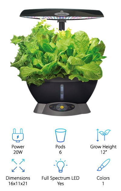 "This model of the AeroGarden Classic comes in black plastic and has a long-lasting LED light, like other AeroGarden models. It has a control panel style similar to the Harvest models with buttons, lights, and instructions on how to work the control panel. You can set the automatic light cycle for different plants, including herbs, salad greens, vegetables, and flowers. Or just set the light to 12 or 24 hours on at a time during the day. The panel also lights up to remind you when to add nutrients. Plus, a water level viewing window is right on the front of the AeroGarden above the control panel, so it's easy to keep track of! This six-pod AeroGarden has a larger size than, say the AeroGarden Harvest reviewed above so you may prefer it if you want to grow larger plants since there will be more room for them to spread out. The 12-inch max grow height is more suited to ""low"" plants like strawberries, herbs, and some flowers. Although not as high-tech as our top pick, we liked that we could easily check on the water level without relying on a sensor light hidden in the setup."