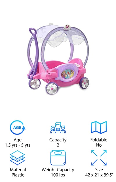 This pretty wagon is perfect for any princess. It even comes with a fun canopy for keeping your kids cool on a summer day. It has an oversized chariot door for easy access. This makes it a breeze for your princess to step in and out of her chariot. This wagon features whisper wheels for a smooth and quiet ride around the neighborhood. This means all your princess will hear is the sweet sound of your neighborhood and not the squeakiness of her chariots wheels. It comes with a large easy-pull handle so you can take this pretty wagon anywhere. The handle even locks into place underneath the wagon when you are not using it. This makes it easy to store and transport anywhere you go. This wagon comes with two seat belts and two drink holders so your princesses can ride in style and safely. This is the perfect pretty wagon for anyone whose child loves princesses.