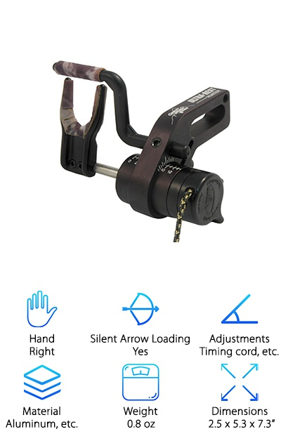 Here's another great drop-away arrow rest! The Quality Archery Hunter Rest features total arrow containment. It has an easily adjustable timing cord with a cable clamp to lock it in place. This is one of the few rests we've seen that also works with shorter arrows. It's super lightweight at just 0.8 ounces. It has a great, breakaway safety feature as well as a full-draw indicator to ensure the perfect position for launch. Made from precision-cut materials like aluminum, stainless steel, and Delrin, this is a long-lasting arrow rest made from quality parts. Here's the best part though: this rest has a cool thumbwheel to allow for an easy, single-motion loading and capture that's fast and accurate. We love this arrow rest for all of its sweet features, and we're pretty sure you will too!
