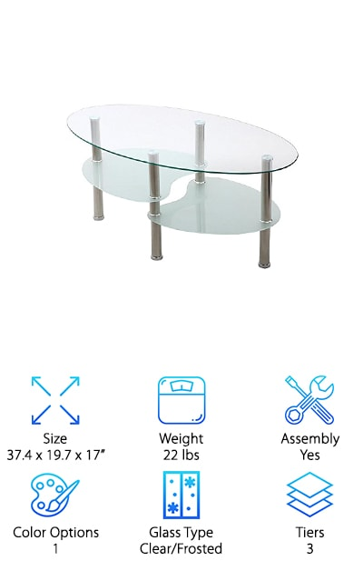 This beautiful and affordable table is sure to get compliments as the centerpiece of your living room or office. Its graceful curves and layers are distinctive and serene. They are also safer than tables with sharp corners if you have small children, clumsy pets, or are just prone to barking your own shins now and then. An elegant oval of clear glass forms the top tier, which is uniquely set off by two lower tiers of uniquely shaped frosted glass. The three offset levels give you plenty of space for a potted plant or two, a cup of hot tea, and your current read, making this table as practical as it is pretty. Brilliant stainless steel legs lend extra contemporary elegance and flair. Assembling the table on your own is also fairly simple. Just do as your partner tells you and read the included instructions. Then kick back and enjoy the extra panache this sophisticated piece brings to your home.
