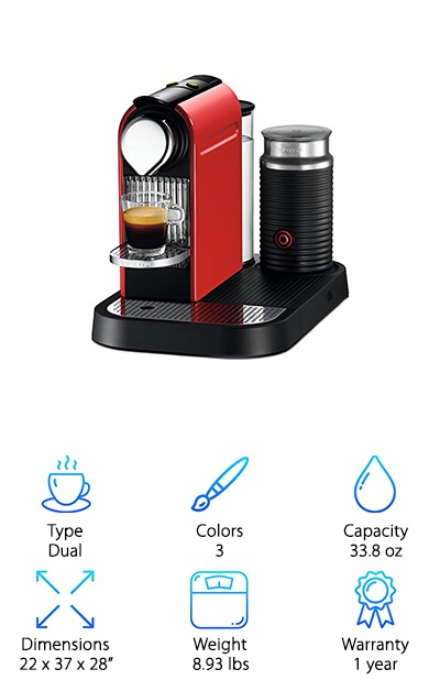 This is the coffee maker for the city life. Hello, CitiZ! It's great enough that Nespresso coffee drinkers can really enjoy its brews. What's even greater is that the machine now comes with the new look that design lovers will be in awe of. Dubbed as Red Dot design, it's very compact and space-saving for every urban kitchen. Yes, that's right. It doesn't take too much space. The programmable buttons are also very user-friendly. And whether it's espresso or Lungo coffee, you'll get the barista-style coffee you want. That's because of the machine's 19-bar high-performance pump. It's able to extract and squeeze out just the right amount of aroma and taste of the coffee you love. And after 25 seconds, your brew is already done. This gives more available time to get other tasks done. Furthermore, CitiZ shuts down on its own after it hasn't been used in 9 minutes. So, if your heart is on this, feel free to choose from among its three colors.