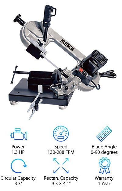 The Klutch 2701Q032 Band Saw is the perfect product for someone who doesn't have enough work space for a stand-alone horizontal band saw. You can easily attach it to any workbench or tabletop, so you can ultimately take it wherever it is needed. The portability of this tool is really quite impressive considering its powerful capabilities that allow it to take on any material or project. With all of that power, you will want to be able to control the speed of the bi-metal blade. Fortunately, you can adjust the speed anywhere between 130 and 288 FPM. With the blade moving at such high speeds, you will love the added safety feature that automatically shuts the blade off after use. You will also appreciate the fact that the vise that comes with this horizontal band saw. Its design allows you to spend less time trying to get the materials in the ideal cutting position and more time doing the actual cutting. It is also worth noting that this saw has precise miter capabilities. Overall, this is a very useful tool. You will certainly get your money's worth out of it whether you are using it around the home or you are a professional.
