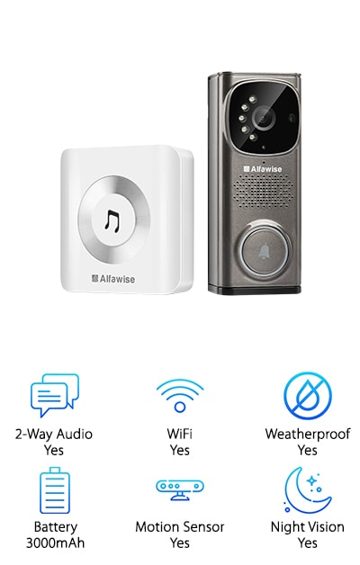 "The Alfawise WiFi Camera Doorbell pairs with the Alfawise app, which can be downloaded directly to your phone. It's very intuitive – it will play a message when you are not available. When you can respond, the Alfawise will send an alert and a recorded video clip. 2-way audio is always an option, so you don't even have to answer the door if you don't want to. Do it on your smartphone, since Android and iOS are both compatible. You have the choice of storing everything in the cloud, so all visits and visitors can be recorded, making this a wonderful security device. Using the cloud helps your doorbell get ""smarter"" by helping it to reduce false alerts. Here's the scoop: You get a free trial of the cloud-storage service with purchase. The built-in lithium battery is rechargeable, so you never need to buy another battery. How easy is that? Give the gift of serenity to someone who needs to feel safe!"