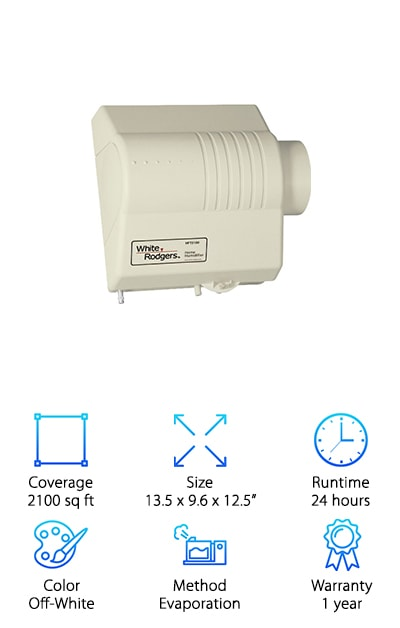Do you have hard water? If you do, the Emerson HFT21000 Humidifier is a great choice. Why do we say that? Because of the flow-through design, mineral deposits are flushed out. That means no build-up that can lead to bigger problems down the line. If you have a plenum that's not level, no worries. The installation kit includes a distribution tray and a wicking card to make up for it. This whole house humidifier is made for homes up to 2100 square feet and works with your existing furnace and duct system. Installation is pretty easy thanks to the reversible side panels and snap-lock fittings. You can install it on either the left or right side. Just use the mounting template and included hardware. Most of what you need comes with it.