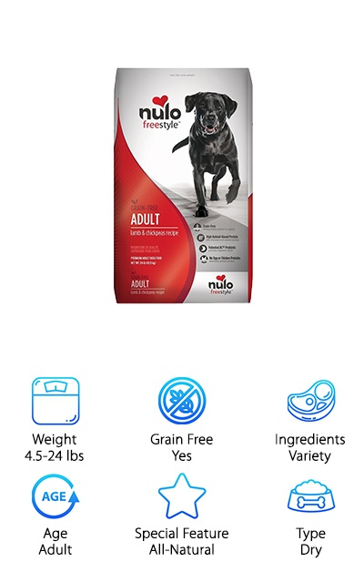 As your pup moves into young adulthood, it's time to transition them to an adult food. The high protein content, probiotics, and grain-free recipes from Nulo make this brand a great choice for active, growing dogs. The recipe options include Lamb & Chickpeas, Salmon & Peas, and Turkey & Sweet Potato. None of the recipes contain chicken or poultry proteins (including eggs), but they do contain some amount of chicken fat. There are also no artificial colors, flavors, or other additives. So if your German Shepherd is struggling with a sensitive stomach, Nulo dry dog food can help you avoid common allergens. Plus, the high protein content means your pup will have plenty of material for putting on strong, lean muscle! It's all easy to digest and made in the USA, using chickpeas, peas, potatoes, and other vegetables instead of corn or wheat for carbohydrates.