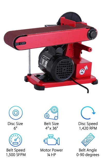 "The last of our favorite belt disc sanders is the BestEquip Combo sander. It comes with a relatively small motor, but it is still able to get a lot of work done. You will also find that it is another one of the more affordable sander options. It is a mid-sized sander with a disc that measures six inches in diameter. The belt measures 4"" x 36"", and while the speed of the belt is not given, the disc speed is reported to reach up to 1,420 RPM. If you need to make any adjustments to the angle of the belt, you will find that this affordable option still provides you with the versatility of more expensive options. You can choose any angle between 0 and 90 degrees, so you can do horizontal and vertical sanding. The best part about this combination sander is that you can use it outside of woodworking. In fact, it is often used with metal and to polish objects. For the price, the amount of versatility that comes with this sander is very impressive. This sander is definitely designed for anyone that wants to get the most bang for their buck."