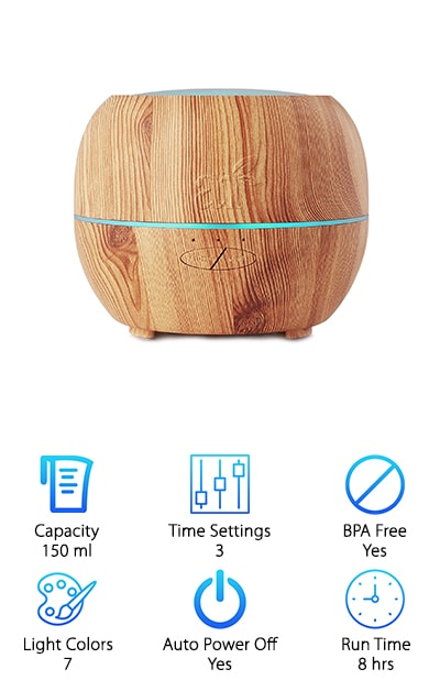 This beautiful diffuser is not only great for stress relief and humidifying a room, it looks amazing doing it. It comes in four colors so there's something to suit everyone's style. The colors available are dark brown, light brown, pink, and silver. It uses ultrasonic technology to deliver safe, heat-free, and smoke-free mist. This means you can feel comfortable using it for long periods of time or even all the time. The sculptural design adds to the style of your space instead of being an eyesore in the corner. It comes with seven colors of soft glowing LED light to help you get in a stress-free mood. The motor is virtually silent so you'll forget it's even there. The auto-off function makes it easy to leave your diffuser on without worrying about it damaging itself. This function automatically engages when you run out of water in your diffuser, so all you have to do to start it up again is add water.