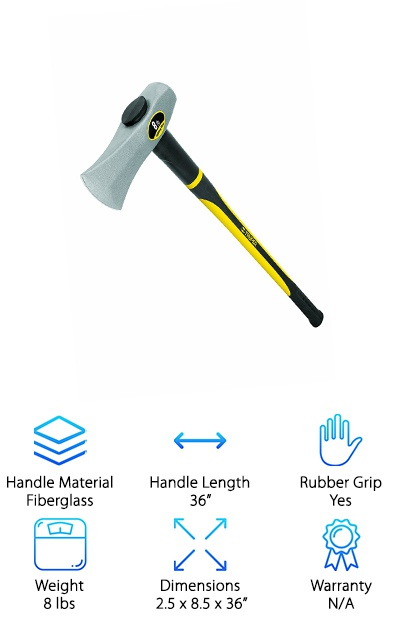 The Truper 30958 Splitting Maul is 36-inches long and powerful! The handle is made from durable, double-injected fiberglass that helps to make this maul easier to handle and protect from overstrike. The head is about 8 pounds, lending its weight to each and every swing. It's incredibly powerful with every swing. The handle is rubberized to improve your handle. The head is drop forged and has a round, bevel-edged striking face. It's also made from quality, durable steel that really holds up. This maul also comes in a variety of sizes and handles, including a wooden version of the handle that is just as good as the fiberglass one! We really love this maul, and we're pretty sure you'll love it just as much as we do!
