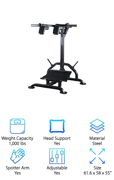 The Powertec Fitness Levergym Squat/Calf Machine is a bestseller for performing calf raises, squats, single leg calf raises, and single leg squats. This hack squat machine weight load capacity is up to 500 pounds using Olympic-style plates. The slide handle bar allows you to start and stop the exercises in the top position, perfect for when you don't have a spotter on hand or want to mix up your workouts with new movements. This is a great basic machine for focusing on leg workouts. It doesn't take up much space, so it's perfect for home gyms in basements, garages, or side rooms. Just set the foot plate at the correct angle and you'll be able to focus on building up your thigh and calf muscles while taking pressure off of your knees, lower back, and other joints. It moves smoothly and is padded for your comfort, plus it comes at a great price!