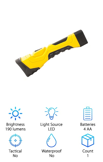 If you're looking for a flashlight that can take a bit more abuse, this might be just what you had in mind. For starters, is has a 190-lumens, 275-meter, 5-hour runtime. But here's the best part: it's made of durable plastic and rubber. How strong is it? It can tolerate a drop of up to 10-feet without sustaining any damage. That's not all. It's available in several bright colors: yellow, purple, neon green, neon blue, and neon pink. Choose your favorite one and it'll be easy to find your flashlight when you're looking for it. Of course, it also comes with a nylon lanyard so you can always have it close at hand when you need it. It's powered by 4 AA batteries which are included as well as a 1-year limited warranty.
