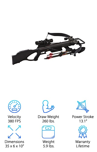 Amazing power comes in so many Excaliburs! The Blackout is a powerful, speedy crossbow with a max speed of 380 feet per second. The 380 comes in several different packages, but the Blackout is our favorite. The solid black bow has the look and feel of a sniper rifle. The package comes with four Diablo arrows, a 4 arrow quiver, cheekpiece, Tact-Zone scope, and rope cocking aid. It's a beautiful design and color, made even prettier by its amazing stats. 112.3 pounds of kinetic energy thrust arrows at amazing speeds, all made suppressors to make the Blackout as stealthy and silent as possible. Its incredible accuracy will help make those sniper shots from your hunting perch, downing almost any prey you want.