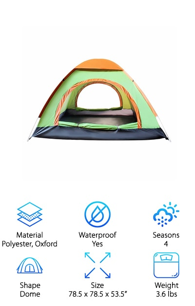 We searched high and low for the best pop up tents and came across the EverKing. This tent lives up to its name in the sense that it can withstand rain, wind, and snow, making it stand out as one of the most durable pop up tents we've seen. Made from polyester with ultra-strong nylon flooring, the EverKing is waterproof and features fully taped seams and a rainfly. The 6mm fiberglass poles hold up well in windy weather, making it perfect for camping out at the beach, on a road trip, by the lake, or during other outdoor excursions. Ideal for three to four people, or extra spacious for a pair, this model could easily be considered a contender for the best pop up tent for camping. Brave the cool weather and even the snow with this super durable model. You don't need to keep your outdoor plans on hold any longer-- choose the EverKing and see what nature has in store for you!