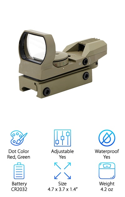 For a red and green dot sight, look no further than this Ohuhu. In addition to the option of red or green, you also get 4 different patterns and 4 different sized dots to choose from. We love that it's ultra- lightweight, waterproof, and shockproof. You can feel comfortable using it outside in any kind of weather conditions. Another great thing about this sight is the wide field of vision. That means you can keep an eye on everything else going on around you while still focusing on your target. The built-in mount is standard and fits onto most bases without needing any re-zeroing. It comes with an Allen head wrench for any windage and elevation adjustments you need to make. That's not all. It also comes with a 12-month warranty.