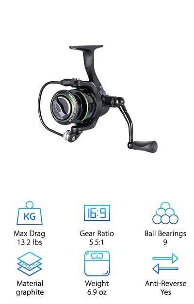 For an unparalleled, lightweight experience, you've got to try out the Piscifun New Venom Spinning Reel. Made of corrosion-resistant, sturdy graphite, the Venom gives you incredible value for your money. It's an impressive reel with a low-key profile. Check out the ultra-smooth action provided by this reel's cutting-edge design, 9 stainless steel ball bearings and steady 5.1:1 gear ratio. This is a nice light model that stays comfortable and easy after a long day of fishing, yet performs like a workhorse. The high-impact rubber grip handle is designed for comfort and reliability. The drag is sealed with a rubber ring to prevent corrosion, making this a model that will continue to operate smoothly for a long time. The stainless steel drive gear, combined with two premium carbon filter drag washers makes this an unbelievably strong little reel that can haul in large, feisty fighters. Bottom line: this sleek little reel is a powerful, affordable product you can rely on.