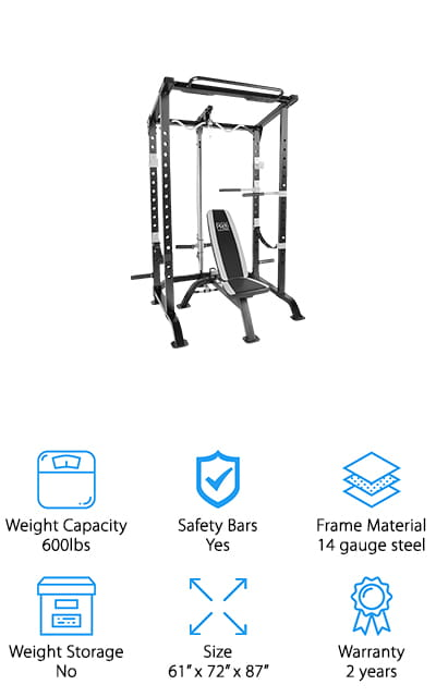 Marcy Fitness is back at it with a full cage workout system that is packed with features to keep you fit. This would make a great commercial power rack for use in membership gyms, just for the size, features, and the way it looks. It looks sleek enough to be perfect in either a home gym or a public one! It comes with an Olympic barbell station, where the height is adjustable at multiple levels for your best, most effective training. The bench can be sat up like a chair for arm exercises or laid back for bench pressing or other similar activities. This piece of equipment could easily become the basis for your home gym. Invest in yourself with this power rack and avoid ridiculous gym fees! And all of this comes at a super affordable price. It's a durable, sturdy product that will make your workouts much more efficient!