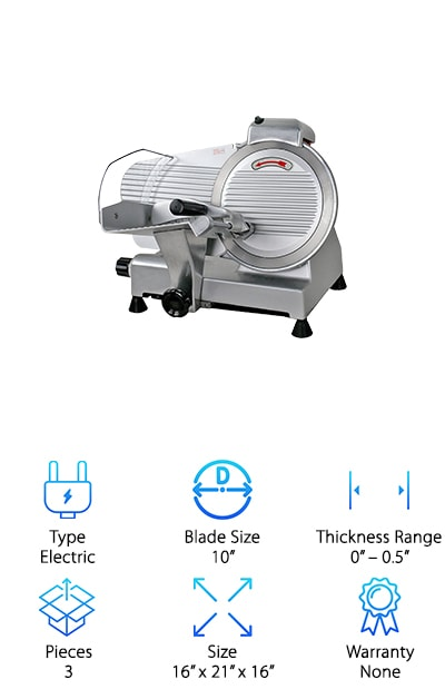 The F2C Professional Meat Slicer is yet another excellent option for a professional-grade slicer. It's perfect for just about any small restaurant, café, or catering company. You can certainly use it at home, though be warned – this thing weighs the same as the Super Deal slicer (35 lbs.)! If you use your slicer a lot, and you're looking to upgrade, this is worth leaving on your counter. For the size, it's super easy to clean and maintain. It also comes with the self-sharpening whetstones that the Super Deal slicer has, which is a great bonus. We also like that the blades turn at a blindingly fast 530 rpm. This means you can slice a lot quicker than an at-home slicer, and your slices will be clean and crisp! It's a powerful, safe, and extremely high-quality slicer!
