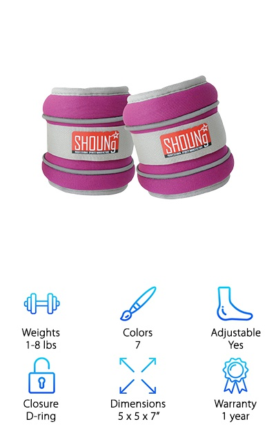 The Shoung Ankle Weights give you plenty of choices in terms of color and weight. While you can't adjust the weight for each set, you can add to your collection by purchasing the different sizes. They come in weights ranging from 1 to 8 pounds, so you can choose the size that is best for you. They come in light blue, pink, red, fuchsia, green, purple, and dark blue. Regardless of which set you buy, the reflective line in the design can help vehicles spot you if you are walking or running on the road in the dark. You can adjust the fit of the strap so that it can be used on ankles or wrists. No matter how you use them, the soft interior will provide you with the perfect level of comfort. For additional comfort, the weights are made from iron sand, which can move to fit the shape of your ankles and wrists. You won't be disappointed.