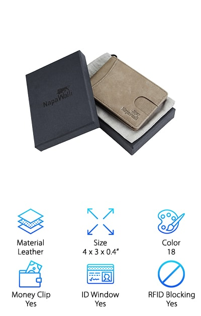 If you need to be able to keep your money flat, not folded, you need the best slim bifold wallet. This one by NapaWall is a great choice for anyone looking for something easy to use and stylish. It comes in 18 stylish colors that can match anyone's taste. The colors are- black, deep brown, khaki, coffee, reddish brown, deep blue, purple, blue, green, red, carbon fiber black, carbon fiber blue, carbon fiber coffee, deep black, vintage deep blue, vintage brown, vintage blue, and vintage gray. With such a wide range, you're sure to find something that you love. It also provides RFID blocking to keep your information safe from any potential pickpockets. It has a front pocket for your most used card, two inside pockets for the rest of your cards, a money clip to securely hold your cash, and an ID  window for easy access. This is a great choice for anyone looking for a great slim bifold wallet.
