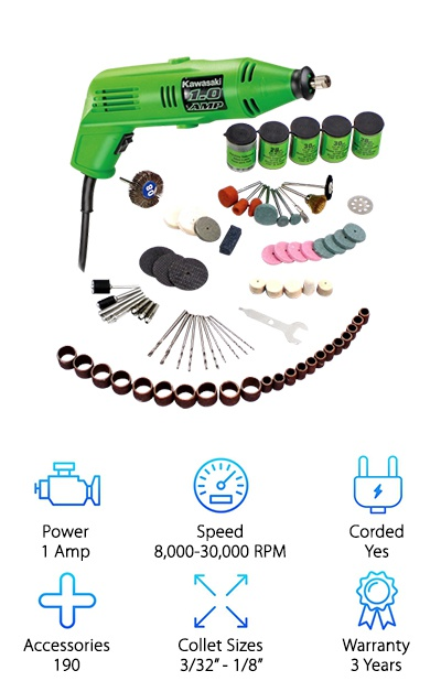 "To wrap up our reviews of the top ten rotary tools, we wanted to show you the Kawasaki 840589. This is a great option for anyone looking for wide variety of tools because it comes with 190 accessories. With the versatility of all of those accessories, you will be able to do an array of grinding, cutting, sanding, and polishing projects. The rotary tool comes with a 1-Amp motor, which can run at speeds between 8,000 and 30,000 RPM. Combining that motor and speed with all of the accessories will give you great versatility at an affordable price. If you need to buy more accessories or you already own some, you will be happy to know that this tool comes with 3/32"" and 1/8"" collets, so any standard accessories should fit perfectly. More importantly, you get what you pay for with the Kawasaki. This rotary tool is exceptionally durable and made from the highest quality materials. If something should go wrong, you can rest easy knowing that this tool is covered by a three-year limited warranty."