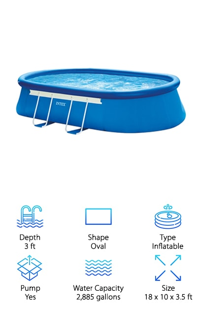 "Another great pool from Intex, this Oval Frame Pool set is the next awesome product on our list. This is a semi-inflatable pool with a strong, powder coated steel frame that resists rust. What do we mean by ""semi-inflatable""? The top ring inflates. When you fill it with water, the steel frame helps hold up the sides and keep the whole thing nice and sturdy. The walls are made of laminated PVC and are super strong and durable. It includes a Krystal Clear Cartridge Filter Pump that keeps the water circulating and clean so you can fully enjoy your summer. You get a few other essential items, too, like a ladder, ground cloth, and debris cover. Don't be too worried about set-up, the included DVD walks you through it step by step."