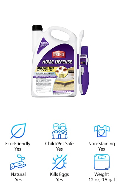 Ortho makes our top ten list twice, this time with the Home Defense Max. Indeed, when it comes to powerful solutions that get the job done right, Ortho is a leader in bed bug elimination and defense. It kills even the toughest bed bugs and their eggs, including those immune to pyrethroid. The Home Defense Max is formulated to be applied to large areas, including baseboards, closets, and carpeted surfaces. The spray wand helps you reach a large area with minimal effort and releases an odorless and non-staining solution that continues to kill bugs for up to two weeks after initial application. Want to know the best part? It works overtime to also kill fleas and dog ticks, protecting your household from a range of dangerous and harmful pests. The quick-drying solution enables all members of your household to resume their normal activities within a short span of time. When it's time to get rid of pests for good, Home Defense Max brings the heat in large measure.