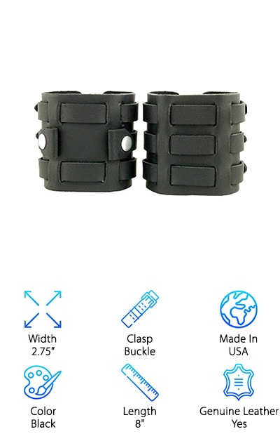 On the hunt for something really unique among XL watch bands? This awesome band is made in the USA, so you know it's amazing quality. It has a unique clasp style that ensures it stays on your wrist no matter what. The three metal clasps give it that awesome punk rock look as well. It even comes with a matching wristband, so you'll really look the part. It is made of genuine leather, so it's just as comfortable as it is cool. The cowhide leather has a very soft and supple feel, so you'll be comfortable wearing it all day and night. The cuffs are 2.75 in wide, making them truly statement pieces. These cuffs will fit anyone with a wrist from 6.75 to 8 in. This makes it a perfect gift for most sized wrists. The screw type used to mount the watchband makes it easy to mount and remove the watch face.