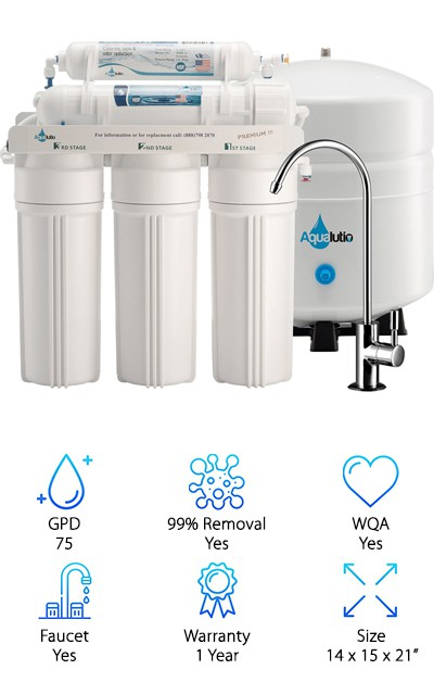 The AquaLutio five-stage RO water filter system has a 75 GPD capacity and uses premium NSF-certified filters. It comes with a heavy-duty lead-free chrome faucet and a standard three-gallon tank that measures 11 x 11 x 15 inches. The total system size clocks in at 14 x 15 x 21 inches, by the way. A sediment filter, two carbon filters, a reverse osmosis membrane, and a polishing filter purify the water before it enters the tank. Detailed installation instructions and quick-connect fittings allow you to easy install it yourself. Overall, the AquaLutio RO Water Filter exceeded our expectations. It offers a VERY low price point but doesn't skimp on quality. We liked the hose fittings which were super quick to attach as well as the high-quality water spigot. It's also quite simple to flush the RO membrane and as easy to install the entire system. You get excellent value for your money here. If you're trying to save some money, this is definitely worth a look.