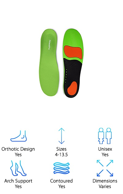 The Fittest Sports Orthotic Insoles come with a bonus pair of compression ankle socks--fun, right? But the insoles are our main focus, so let's talk about those. These insoles come in five unisex size options to suit men's shoe sizes 4-13.5 and women's 5-12.5. The base is supported by a firm outer shell that goes from the heel to midfoot. On top of that, a layer of PU foam provides cushioning and contoured support to the arch and heel. Gel pads at the heel and forefoot act as shock-absorbing cushions for walking and standing. The moisture-wicking top cover helps keep your feet cool and dry, too. The firm arch support is ideal for flat feet, while the heel cup provides stability as you move. These sports orthotic insoles can be used for walking, exercising, and in any of your shoes that look great but leave you hurting later!