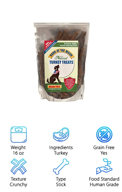 Made in the USA, the Green Butterfly Crunchy Turkey Sticks are grain-free and made from 100% human grade natural ingredients with no artificial colors, flavors, or preservatives. Made simply with just six ingredients plus in-season vegetables like peas and carrots, you can give your dog the crunchy treats they love in a minimally processed way. If you're looking for a natural chewy dog treat, these may not be your best option. They're crispy but can be broken apart easily, so they won't keep your pup occupied for long! You can break them up into pieces to make smaller treats for training or for smaller dogs and puppies. These simple and delicious treats don't use added salt or sugar--so your dog gets all of the flavor without any filler! If your dog has sensitive teeth or dental pain, you may want to offer them some moist, soft treats instead.