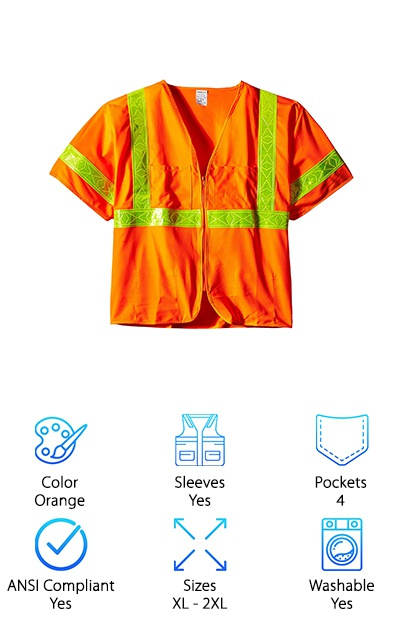 The Jackson Safety ANSI class 3 vest is the simplest design we found. It's bright and bold so there's no need to worry about visibility. Where it differs from the other vests we found is that there aren't as many contrasting color accents. Rather than have silver reflective stripes set off with a bright color, this vest is fluorescent orange with yellow reflective tape in the U configuration. Like we said, this doesn't affect visibility at all but it is the thing that sets this one apart from rest of our top picks! The material is durable polyester and it's machine washable, which is always a plus. Of course, it has pockets, too. There are 2 small exterior pockets on the top and 2 interior pockets where you can keep things that are a little more valuable.