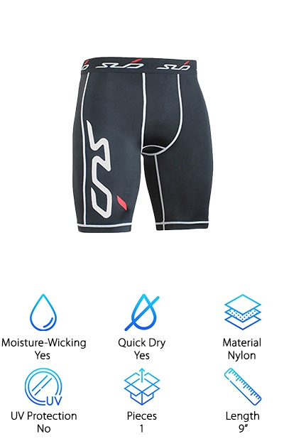 "These compression shorts from Sub Sports are a little heavier than the other products we included on this list. Technically, they're classified as ""midweight"" so if you wanted something that felt a little more substantial, check this out. Even though it's a little thicker, this fabric is still really awesome. It has 4-way stretch that moves with your body. Plus, you can avoid chafing and rubbing thanks to the flatlock seams and moisture-wicking ability of these shorts. They're made mostly of nylon but there's some elastane mixed in, too, to keep them nice and snug. The compression targets muscle groups used in just about every sport which makes these a great choice to wear year round. Plus, they're machine washable and easy to care for. Just wash them in cold water so they keep their shape."