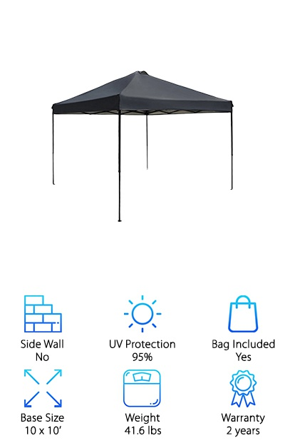 The Punchau Pop-Up Canopy Tent features roofing that is waterproof and UV-coated to handle the elements. If you register your product with the manufacturer, you get a two-year warranty instead of the automatic one-year warranty--that's a pretty good deal! The canopy frame has quick-release buttons to make setting it up and taking it down easy. Three height adjustments (65'', 69'', and 73'') plus an open ceiling with no crossbar make this canopy comfortable for tall people to use. It all folds down into an included carrying bag with a shoulder strap to a 50'' length that should fit in most car trunks. Stakes are included as well to secure the canopy tent against windy days. The 10x10' footprint is perfect for setting up a picnic table or a few lawn chairs to lounge in the shade. The warranty and solid design make this a great little canopy tent for your backyard or your next tailgating event!