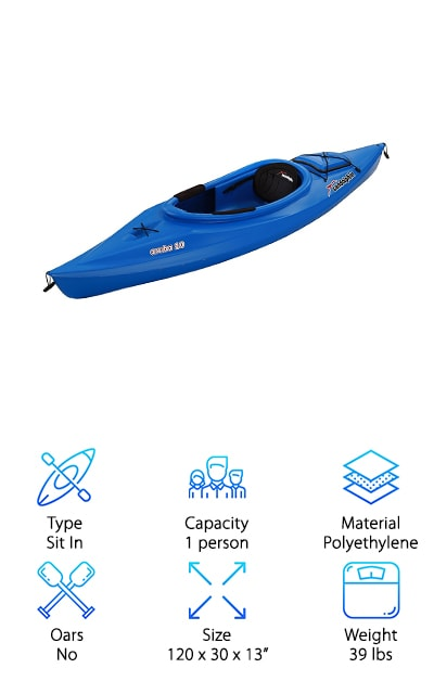 This Sun Dolphin Aruba Kayak is one of the best kayaks for camping. Why? The carrying handles make it easy to take from the water to your campsite. Plus, it's made of high-density polyethylene. This kayak will resist UV damage so it's a good choice to use on a weekend away with almost constant sun exposure. It's also really easy to clean so no need to worry about it getting dirty if you have bad weather. The cockpit is open with a high back support, adjustable padded seat, adjustable foot braces, and protective thigh handles. You can make small adjustments to customize it for you. There's also a storage hatch and bungees on the front and back to carry along supplies. One more thing: a water bottle holder in case you get thirsty.