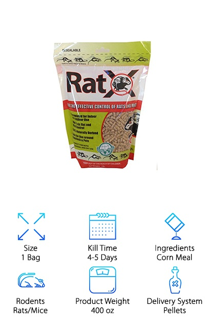Ratx Rat Bait is an ingenious product. This is crazy: It actually contains no poison. It's made primarily from corn gluten. How, then, does it work? Rats eat their fill of the pellets, and then the active ingredients swell internally. You see, rats and mice are unique because they cannot vomit. Without being able to take in additional water, Ratx Rat Bait can kill rats within just one feeding. This isn't just a safe solution for you and your family. It's also a wonderful option for the environment. Poison can sometimes pass through to animals like hawks and owls after killing rats, but that doesn't happen with this product. It can also be tough for people with dogs, cats, or small children to utilize products that contain rodenticides. These ingredients are non-toxic to all mammals. If you have any concerns about the use of poison, this is an easy choice. It's also biodegradable, and will not cause any pollution.