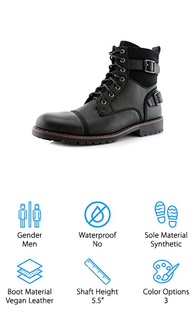 These may not be the best combat boots for rucking, but they sure are one of the most stylish men's combat boots we found. Polar Fox Combat Boots are made of vegan leather that's designed to be both strong and breathable. There are a lot of cool details on this boot, too, like the buckle details and the brushed suede like accents around the shaft. Plus, we love the antique finishing, it makes them look like an old, worn, well-loved pair of boots. Basically, they just look really cool. That's not all, though, they feel great when you wear them, too. They're lined with soft fabric for extra softness and have a side zipper so it's easy to get them on. Plus, the synthetic outsole is made of super grippy material for durability and impact resistance.