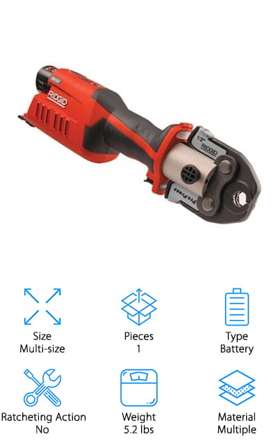 If you've been waiting for a cordless PEX crimp tool, your wait is over! The Ridgid Press Tool Kit includes a battery pex crimp tool. It uses a 12V Lithium-ion battery and you get at least 140 crimps out of every full charge. This tool crimps rings from ½ to 1 ½ inches. The weight is balanced so the battery doesn't affect control or how easy it is to hold onto. It has a straight, inline design that makes it as easy as possible to get into tight spaces. And that's not all. It even has Bluetooth connectivity so you can manage cycle count and battery life right from your smartphone. Just register for an account with the RIDGID Link app and you'll be able to interface with this and any other Bluetooth compatible Ridgid tools.