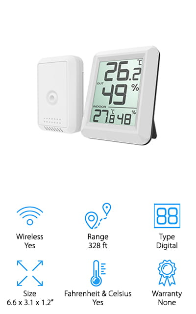 For a wireless thermometer with an impressive range, you can't beat the AMIR Digital Hygrometer. The display screen is large and the numbers are really easy to read. It tells you the indoor and outdoor temperature and humidity and updates every minute. It can read outdoor temperatures of -40 to 140 degrees F so this is a great choice no matter what climate you live in. The design is simple and looks sleek and modern and matches just about any decor. That's not all, it also gives you the option of mounting it to the wall or pulling out the retractable stand to set it on a dresser, desk, or table. You can switch from C to F quickly and easily, just set it to what you want before you put the batteries in.
