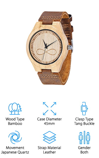 WONBEE Bamboo Wood Watch