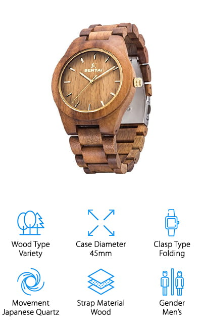 Sentai's handmade wooden watches combine innovative design with high-quality materials. These handcrafted natural wooden watches come in a variety of wood options, from olive wood to black walnut, to suit all tastes. The hand-made design and unique wood grain in every watch mean each is completely one-of-a-kind. Sentai's wooden wristwatches are non-toxic and hypoallergenic so they're suitable for people with allergies and the most sensitive skin. The best part: the luminous pointer inside the bold watch casing means you can read the time, even in the dark. These cool features make this watch convenient and practical for daily use. Sentai's wooden watchband is incredibly comfortable and smooth against the skin and can easily be resized with the included tool. Perfect as a gift for a friend, partner, or even to yourself, Sentai's wooden watches come carefully prepared and packaged in a bright beige gift box. Surprise that special person in your life today with a luxurious wooden watch from Sentai!