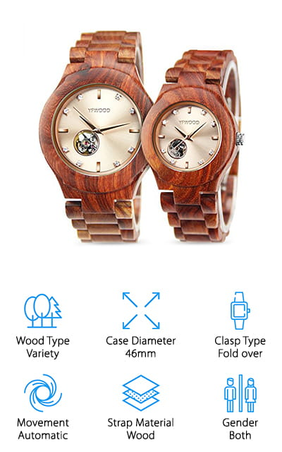 Yet another amazing his and hers wooden watch option, the selection of timepieces from THAITOO are destined to impress. With a variety of designs and even a square wooden watch option, there's a THAITOO watch for every couple in your life. These natural wooden watches are handcrafted, so no two will ever be exactly alike. THAITOO watches are fashionable and exquisite, with a selection of ornate casings that will please any taste. While each kind of watch set available has unique features, some of them boast individual date and calendar dials while others have simpler designs. All of the THAITOO watches have smooth, comfortable, and adjustable wooden wristbands that will make you want to keep them on day after day. Specifically crafted to be adored by all, these couple's watches are great anniversary gifts to your partner, parents, or in-laws. Regardless of your tastes, you're sure to find something you adore with THAITOO's wooden watches.