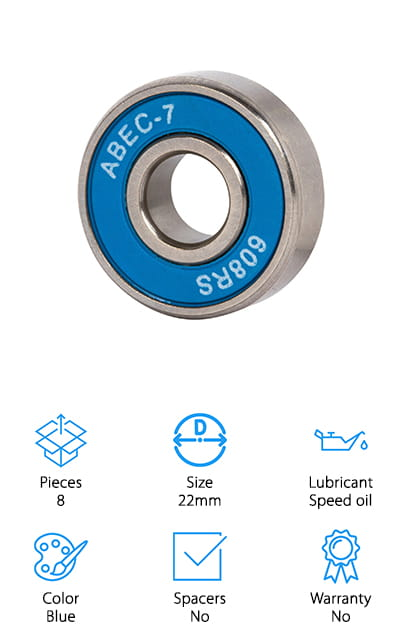 These affordable longboard bearings from Radeckal are perfect for the casual skater who just wants to have fun. Radeckal's skateboard bearings are high precision-grade quality with a smooth glide. These bearings are lubricated with a high-grade oil to keep them spinning freely as you move. With a durable construction, you can rest assured that your bearings will spin happily under your feet as you glide along. For an impeccable performance at a price point that you just can't beat, Radeckal's skateboard bearings are our choice for the best longboard bearings for cruising on the cheap. Even better, the bright blue color is sure to stand out from the crowd, so you're sure to get some compliments on your new sleek-looking board. Perfect for an entry-level or casual skater, there's really no reason to spend more on your bearings, when this affordable option from Radeckal will keep you cruising.