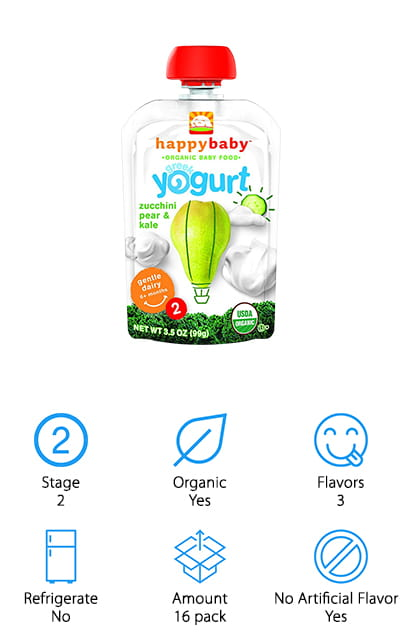 The tasty Happy Baby Greek Baby Yogurt is certified organic and to give parents peace of mind while their baby snacks away. With a convenient BPA-free on-the-go-pouch that doesn't need to be refrigerated and a delicious combination of fruits and veg in each serving, babies can enjoy these wherever life's adventures take them. If that wasn't good enough, these Greek yogurts are kosher and gluten-free. Happy Baby makes their yogurts in consultation with pediatricians and nutritionists, so they're chock-full of vitamins and nutrients. These Happy Baby yogurts come in delicious flavor combos like apples, cherries, and blueberries for fruit lovers and even a zucchini, pear, and kale option to help baby try new tastes. Without added sugars or artificial flavors, parents can happily let their children snack on these yogurts day after day. Kids who try it will agree, these Happy Baby snacks really are the best Greek yogurt for babies.