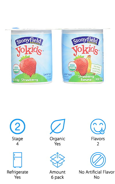 Stonyfield is well known for their line of high-quality yogurts, and their Yokids snacks are no exception. With milk sourced from pasture-raised cows and pesticide-free fruits, these yogurts are a great option for your toddlers. These six packs come with single serving strawberry and strawberry banana yogurt cups, so they're perfect for picky eaters. Fully USDA Organic and made without high fructose corn syrup or artificial flavors, the Yokids are excellent sources of calcium and vitamin D. They're also chock full of protein and potassium, so you can help baby get the nutrients they need. Also certified gluten-free and suitable for lactose intolerant individuals, YoKids are great for a variety of different eaters. Since they require refrigeration, they're great for breakfast or a mid morning snack. Most parents find that the Stonyfield Organic Yokids yogurts are so good, they start snacking on them, too. If you're looking for the best yogurt brand for babies, you can look no farther than Stonyfield.