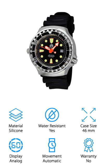 This professional dive watch is the perfect choice for anyone who needs a powerful watch for their dive. It comes with a professional helium valve to help during external pressure reduction (e.g. emerging). This helps the accumulating helium escape so your watch doesn't break after a great dive. IT has a central second indicator to help you tell exactly what time it is. It also has a date indicator at 3 o'clock. This watch has a high-quality automatic movement that allows you to feel confident in your watches ability to do its job. This watch also has a professional one side rotating bezel system. It also has a high-quality diver strap which allows you to feel secure while you're diving. This is a great choice for anyone who needs a highly functional and durable diving watch that they can wear all the time.