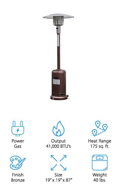 Our final gas-powered heater in our portable patio heater reviews is a powerful and affordable option from Giantex. This heater is powerful enough to keep 175 square feet cozy and warm in even extreme conditions. You can also easily adjust the heat to your liking, or as the night gets cooler. The design of this heater is sleek, yet bulky enough to stand up to heavy winds. The bronze finish is great for blending in, and they have a black option for a more glamorous look too. We like that you have the option of using either propane or butane, depending on what you prefer or have available. It also comes with wheels to move it around, and it also has the same tilt-valve release to keep your until safe while moving or if it's knocked over. This is a great patio heater to keep your budget down and your family warm while relaxing outside on a chilly night!